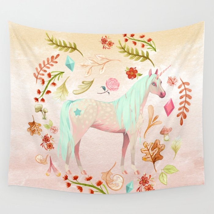 Unicorn Watercolor Painting Wall Tapestry By Gardenofdelights
