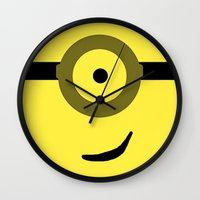 minions Wall Clocks featuring Minions Banana? by ZenthDesigns