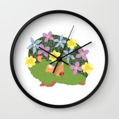 Spring Hedgehog Wall Clock