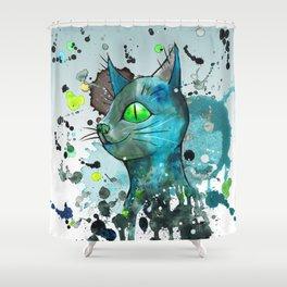 Wild blue grunge cat Shower Curtain