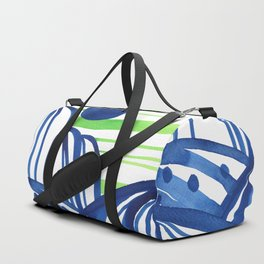 Lime and blue abstract landscape Duffle Bag