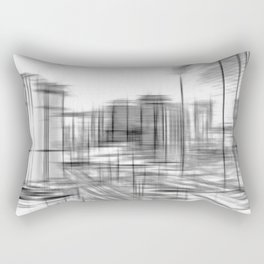 pencil drawing buildings in the city in black and white Rectangular Pillow