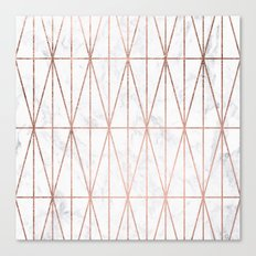 Modern geometric triangles faux rose gold pattern on white marble Canvas Print