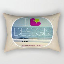 I Strawberry Design Rectangular Pillow
