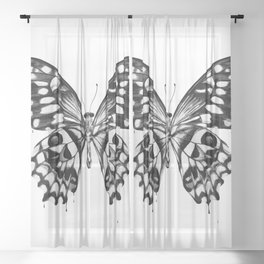 black butterfly Sheer Curtain