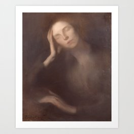 Woman Leaning on a Table by Eugene Carriere Art Print