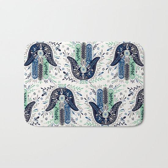 Hamsa Hand – Navy Palette Bath Mat