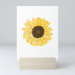 Mandala Sunflower Natural Watercolor Pattern Mini Art Print