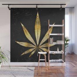 Gold Leaf Cannabis Wall Mural