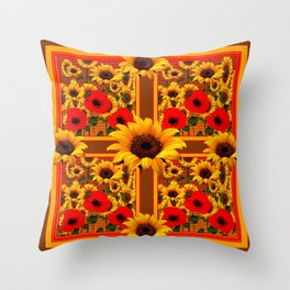 RED POPPIES YELLOW SUNFLOWERS BROWN PATTERN ART Throw Pillow