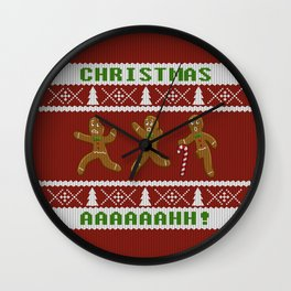 Ugly Christmas Sweater Scared Gingerbread Men Red Wall Clock