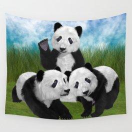 Panda Bear Cubs Love Wall Tapestry