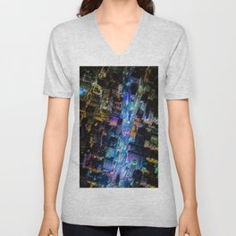 Aerial Times Square - New York City Landscape Painting by Jeanpaul Ferro Unisex V-Neck