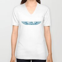 girl power V-neck T-shirts featuring GIRL POWER by FabLife