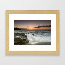 Sunset Over the Rocks Framed Art Print