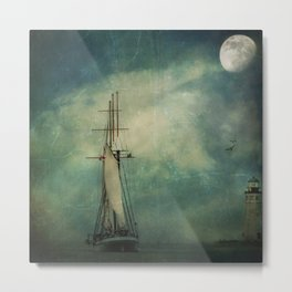 Sail away into the night Metal Print