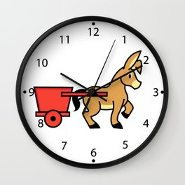 Mule and cart icon Wall Clock