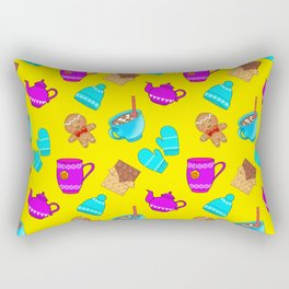 Lovely gingerbread men cookies, chocolate bars, hot cocoa with marshmallows, tea pots winter pattern Rectangular Pillow