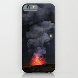 Moon Over Kilauea Volcano at Kalapana iPhone Case