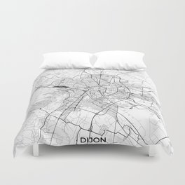 Dijon Map Gray Duvet Cover