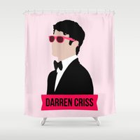 darren criss Shower Curtains featuring Darren Criss with pink shades! by byebyesally