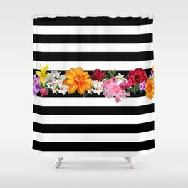 flowers on black and white stripes Shower Curtain