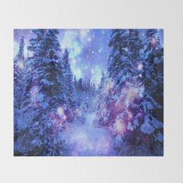 Mystical Snow Winter Forest Throw Blanket