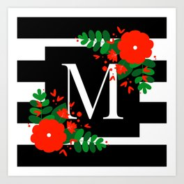 M - Monogram Black and White with Red Flowers Art Print
