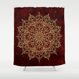 Deep Red & Gold Mandala Shower Curtain