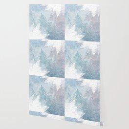 Fern Snowflakes - Taupe, Aqua & Blues Wallpaper
