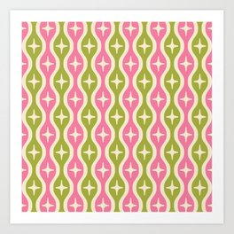 Mid century Modern Bulbous Star Pattern Pink and Green Art Print