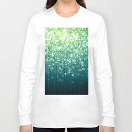 Spring Teal Green Sparkles Long Sleeve T-shirt