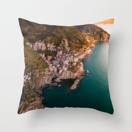 Aerial above Cinque Terre, Italy Throw Pillow