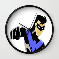 nightwing Wall Clocks featuring Nightwing by Queenmissy
