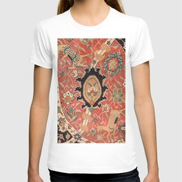 Arabesque Floral III // 17th Century Rich Red Colors Interlaced Blue Bands Dragons Lions Pattern Ru T-shirt