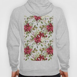 Watercolor pink green hand painted floral berries Hoody