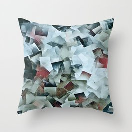 Geometric Stacks Turquois Cranberry Throw Pillow