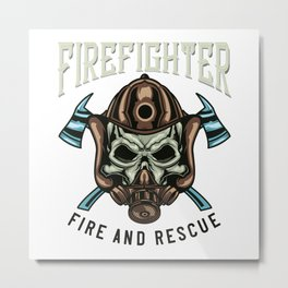 FIREFIGHTER FIRE AND RESCUE Metal Print