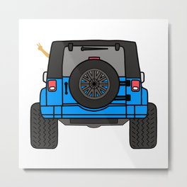 Jeep Wave Back View - Blue Jeep Metal Print