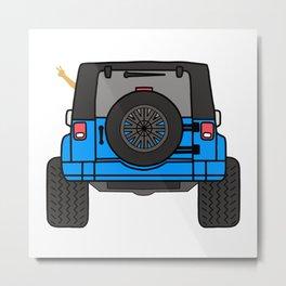 Jeep Wave Back View - Blue Jeep Metal Print