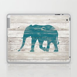 Rustic Teal Elephant on White Painted Wood A222a Laptop & iPad Skin