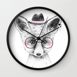 Fox - black and white with hat and glasses - large Wall Clock