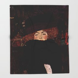 "Gustav Klimt ""Lady with Hat and Feather Boa"" Throw Blanket"