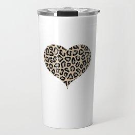 Cheetah Pattern Heart Leopard Fur Heart Shape Animal Print Travel Mug