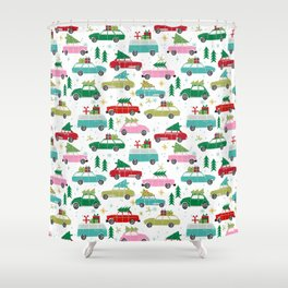 Christmas car tradition christmas trees holiday pattern winter festive Shower Curtain