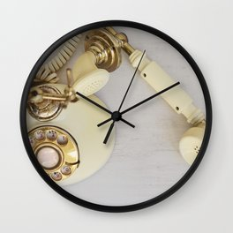 Vintage Cream and Gold Phone Wall Clock