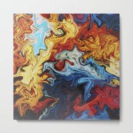 Night's Bright Colors - Color Liquid in Water Metal Print