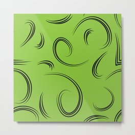 Patterns from curls to represent natural products green background. Metal Print