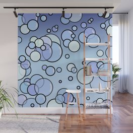 Bubbles on Blue Wall Mural