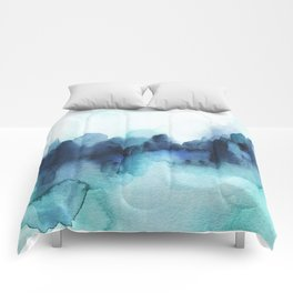 Wonderful blues Abstract watercolor Comforters